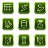 Het Webpictogrammen van het gegevensbestand, groene vierkante knopenreeks Stock Fotografie