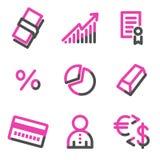 Het Webpictogrammen van het geld, roze contourreeks Royalty-vrije Stock Foto