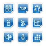 Het Webpictogrammen van media, blauwe stickerreeks Royalty-vrije Stock Fotografie