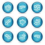 Het Webpictogrammen van pijlen, blauwe glanzende gebiedreeks Stock Afbeelding