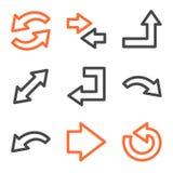 Het Webpictogrammen van pijlen, oranje en grijze contourreeksen Stock Afbeeldingen