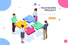 Het Webseo van het groepswerkproject het landen paginawebsite stock illustratie