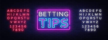 Het wedden Uiteindenvector Bet Tips-neonteken Helder nachtuithangbord bij het gokken, het wedden Lichte banner, ontwerpelement vector illustratie