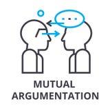 Het wederzijdse pictogram van de argumentatie dunne lijn, teken, symbool, illustation, lineair concept, vector stock illustratie