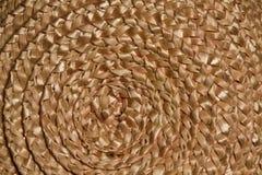 Het weefseltextuur van de mand rieten vlecht, de macroachtergrond van het Cirkelstro Royalty-vrije Stock Afbeelding