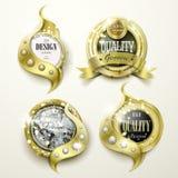 Het weelderige gouden en ontwerp van juwelenetiketten royalty-vrije illustratie
