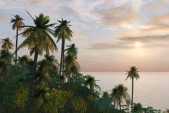 Het weelderige Tropische Eiland van het Gebladerte Royalty-vrije Stock Fotografie