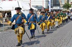 Het weer invoeren: Zweedse Carolean-militairen van 1700 Stock Afbeelding