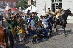 Het weer invoeren: Zweedse Carolean-militairen van 1700 Royalty-vrije Stock Afbeelding