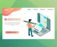 Het Weergeven Isometrisch Ontwerp van het Bloggingsconcept stock illustratie