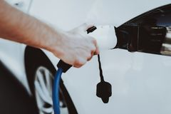 Het Weergeven van de Teslaauto Het automobiele Concept van de Lastentank royalty-vrije stock foto's