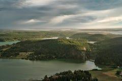 Het Weergeven van Fidalgo en San Juan Islands op Onderstel Erie royalty-vrije stock foto