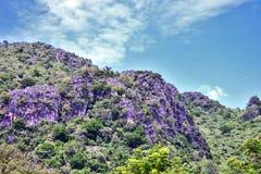 Het Weergevenachtergrond van bergrocky landscape tropical forest sky stock fotografie