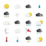 Het weerpictogrammen van de origami Royalty-vrije Stock Afbeeldingen