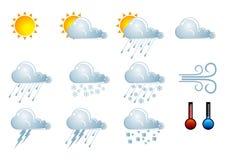 Het weerpictogrammen van de voorspelling Royalty-vrije Stock Afbeeldingen