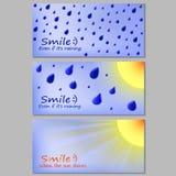 Het weerregen en zon van de prentbriefkaarmotivatie Royalty-vrije Stock Foto's