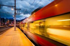 Het weggaan van de trein Stock Fotografie