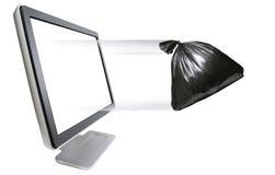 Het weggaan van de vuilniszak royalty-vrije stock afbeeldingen