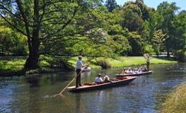 Het wegschoppen op de Rivier Christchurch Nieuw Zeeland van Avon Stock Afbeeldingen