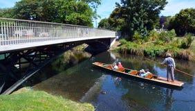 Het wegschoppen op de rivier van Avon Christchurch - Nieuw Zeeland Stock Fotografie