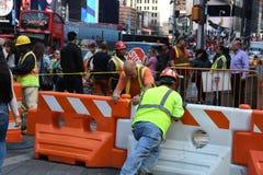 Het wegwerk de Bouw in van Manhattan, New York City Road stock foto