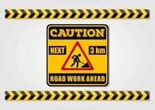 Het wegwerk ondertekent vooruit en waarschuwt lijnen op witte achtergrond worden geïsoleerd die Vector illustratie stock illustratie