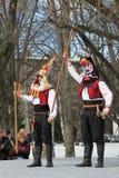 Het wekken met horo - Bulgaarse traditionele dans Royalty-vrije Stock Afbeelding