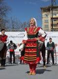 Het wekken met horo - Bulgaarse traditionele dans Royalty-vrije Stock Afbeeldingen