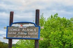Het welkom heten Teken Homer Alaska stock foto