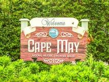 Het welkom teken, Kaap mag, New Jersey stock fotografie