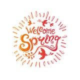 Het welkom van letters voorziende malplaatje van het de lentehandschrift Stock Fotografie