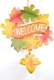 Het welkome teken van bladeren. Royalty-vrije Stock Foto