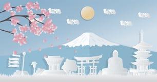 Het wereldberoemde ori?ntatiepunt van Japan, de herfstseizoenen, prentbriefkaaren, panoramische reizen, reclameaffiches in de vor stock illustratie