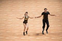 Het wereldkampioenschap op Acrobatische Rots - en - broodje en de Wereld beheerst boogie-woogie Stock Foto's