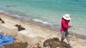 Het werk aangaande de kust stock footage