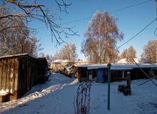 Het werk de dorpswinter Stock Afbeeldingen