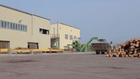 Het werk in een fabriek, het werkproces in een houtbewerkingsfabriek, het werk aangaande een bulldozer, gele bulldozer in een fab stock footage