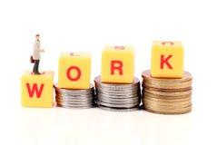 Het werk en geld stock foto's
