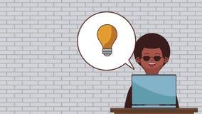 Het werk en laptop HD animatie stock illustratie