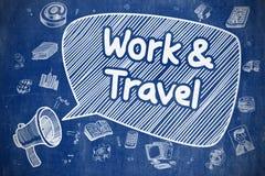 Het werk en Reis - Beeldverhaalillustratie op Blauw Bord vector illustratie