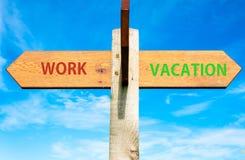 Het werk en Vakantietekens, het Saldo conceptueel beeld van het het Werkleven Stock Foto