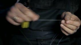 Het werk met optische vezel stock videobeelden