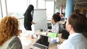 Het werk proces, werknemers het communiceren, die grafiek bekijken stock videobeelden