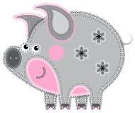 Het werk van Applique in de vorm van varken van een stof royalty-vrije illustratie