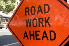 Het Werk van de weg ondertekent vooruit stock afbeeldingen