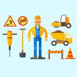 Het Werk van de wegreparatie Vector illustratie royalty-vrije illustratie