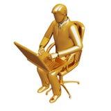 Het werk van de zakenman aangaande laptop royalty-vrije illustratie