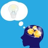 Het werk van hersenen aan een nieuw idee Stock Foto