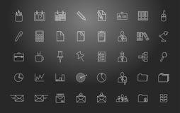 Het werk van het bureau Reeks vector lineaire pictogrammen Royalty-vrije Stock Foto