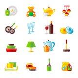 Het werk van het huis en huisapparatuur pictogrammen Royalty-vrije Stock Afbeeldingen